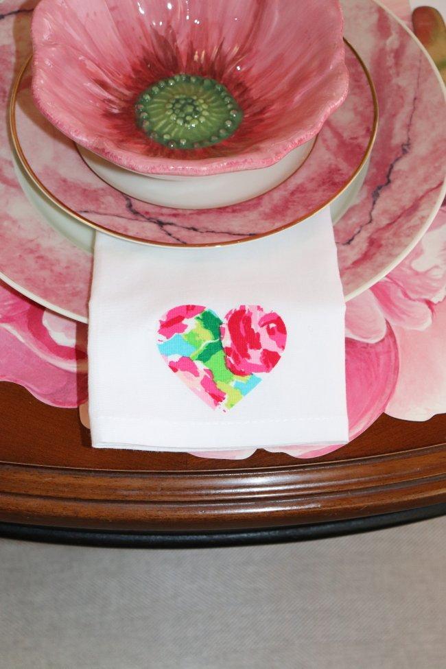 Heart on white napkin