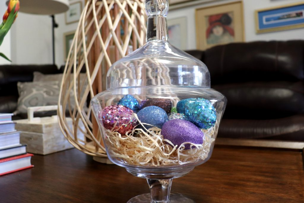 Jar of glittered eggs