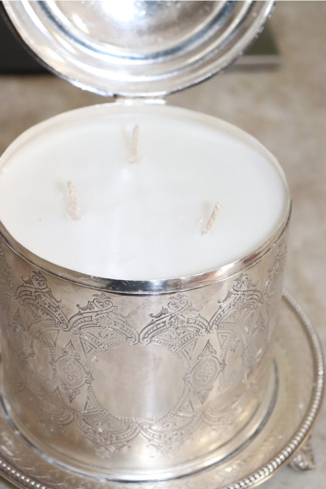 sterling container with candle