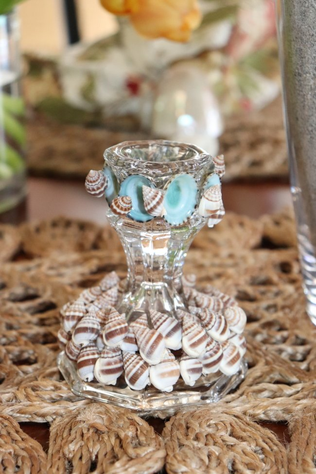 Candlestick holder on table