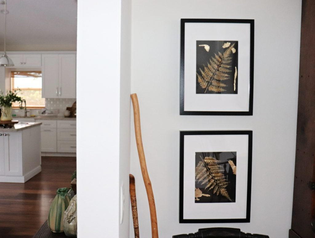 Two black frames with white matt with gold ferns inside