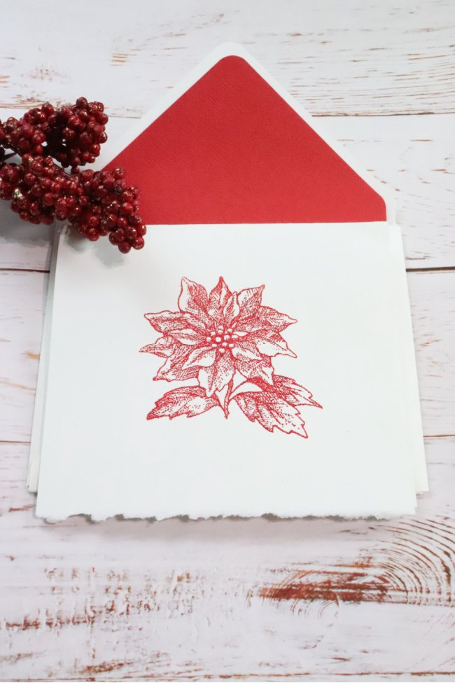 This decorative notecard is for the occasion Christmas. It is a white envelope with christmas trees for insert and the card is white with a large christas flower on it