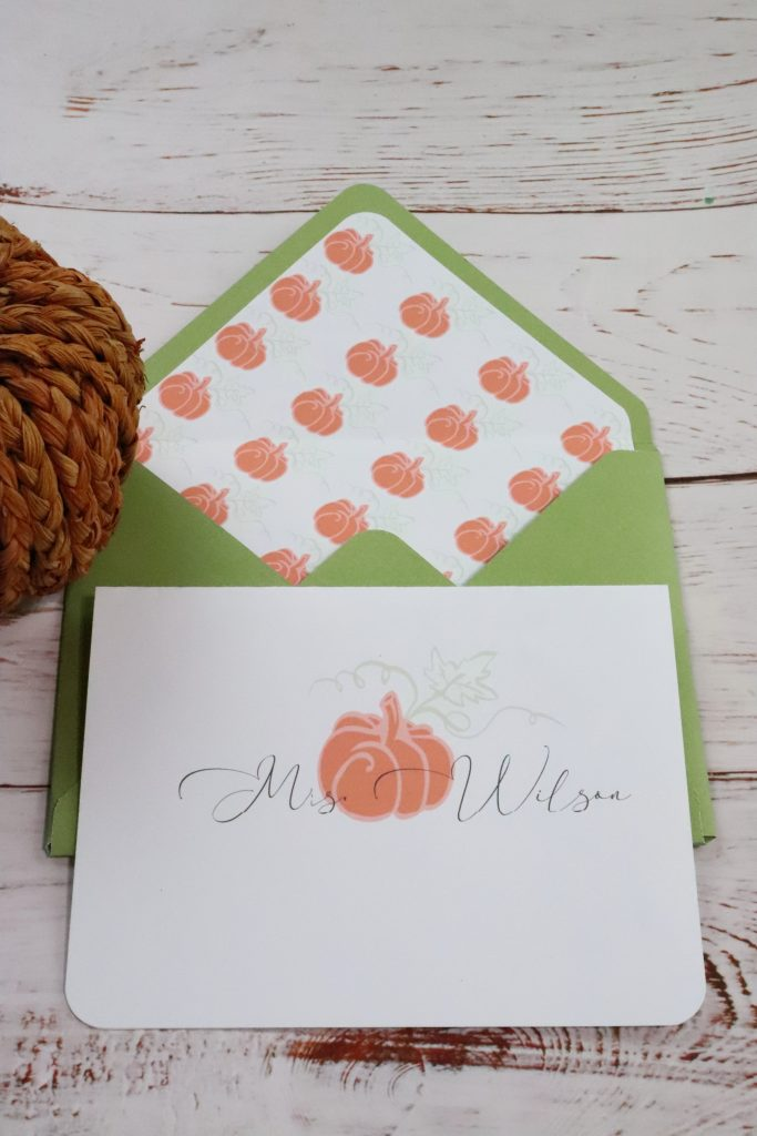 DIY Notecards For All Ocassions. This decorative notecard is a green envelope with a pumpkin insert. The card has a pumpkin on it with the name Mrs. Wilson.
