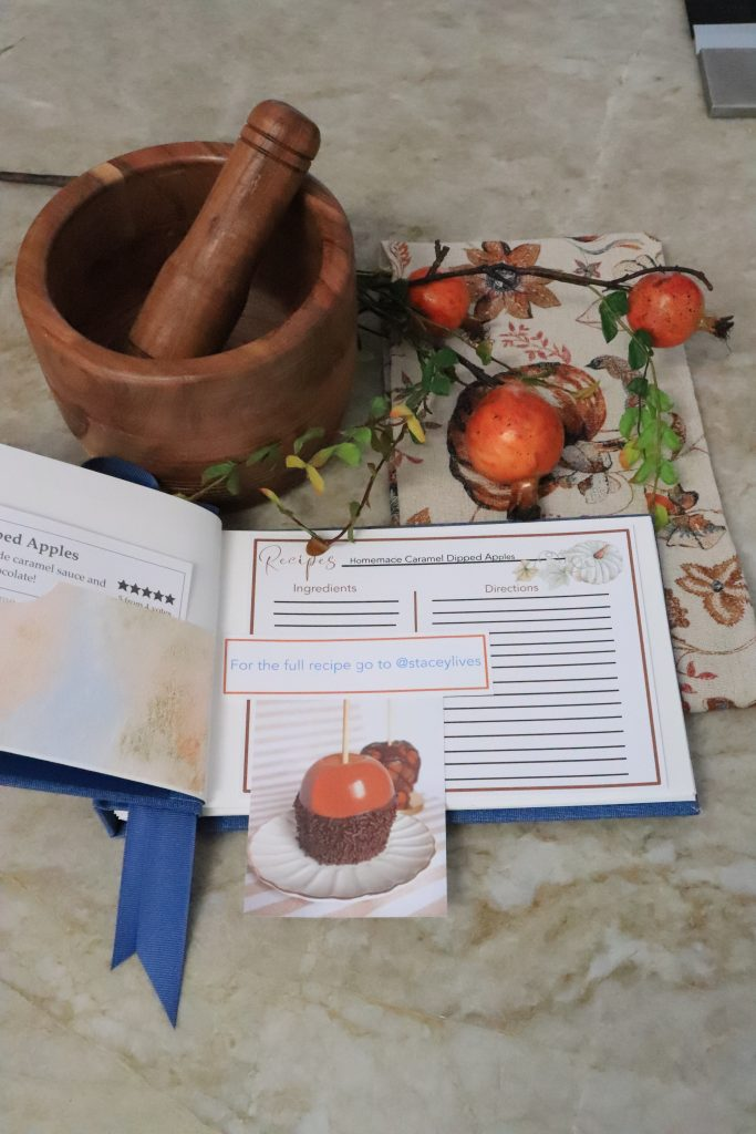 Showing a recipe card and photo of caramel apples